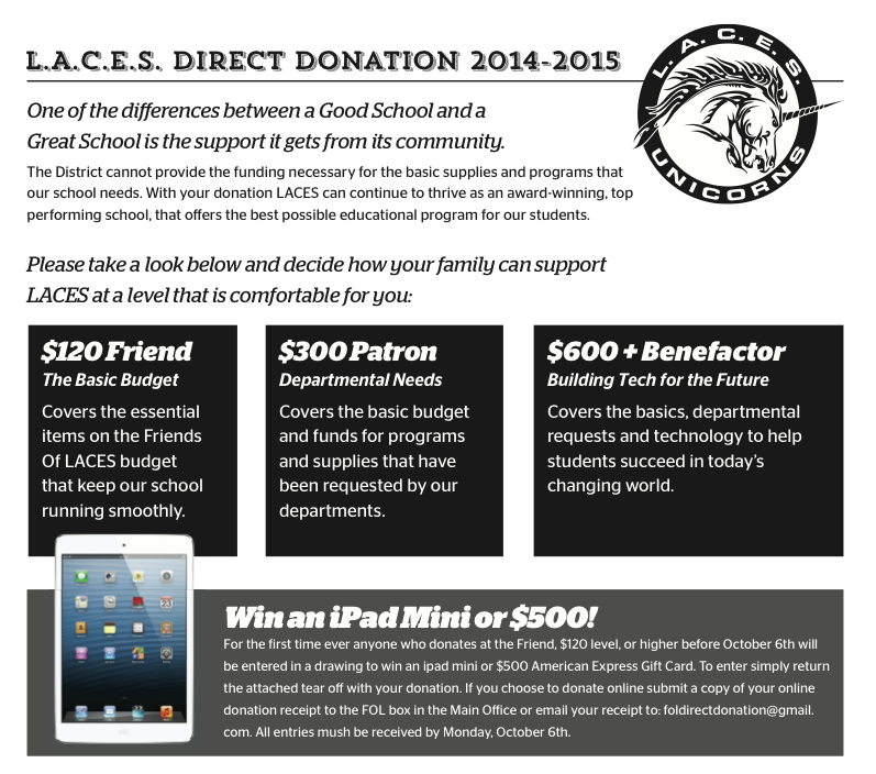 LACES Direct Donation 2014-2015