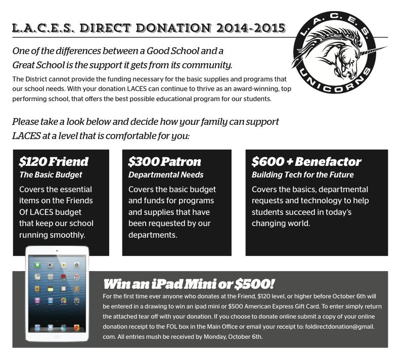 LACES Direct Donation 2014-2015